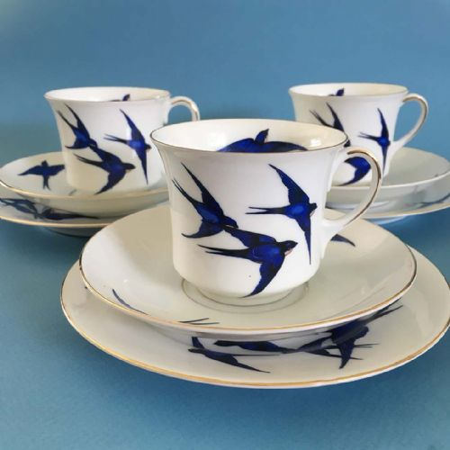 Art Deco - Czech - Blue Swallows - Trio x 3
